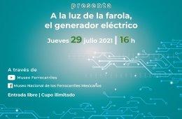 A la luz de la farola, el generador eléctrico