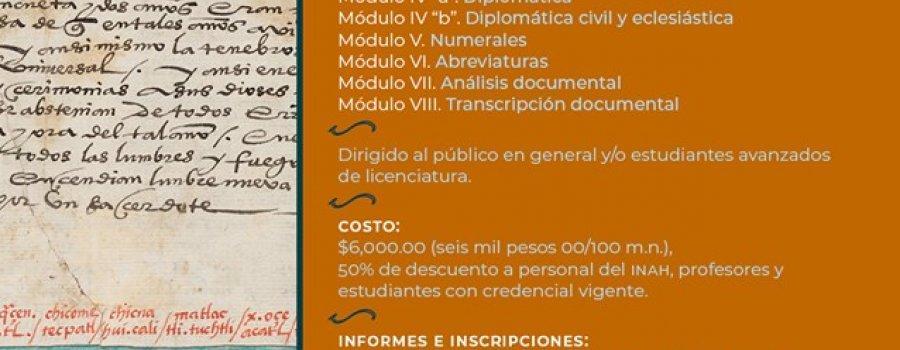 Curso - Taller: La Paleografía y Diplomática en documentos novohispanos