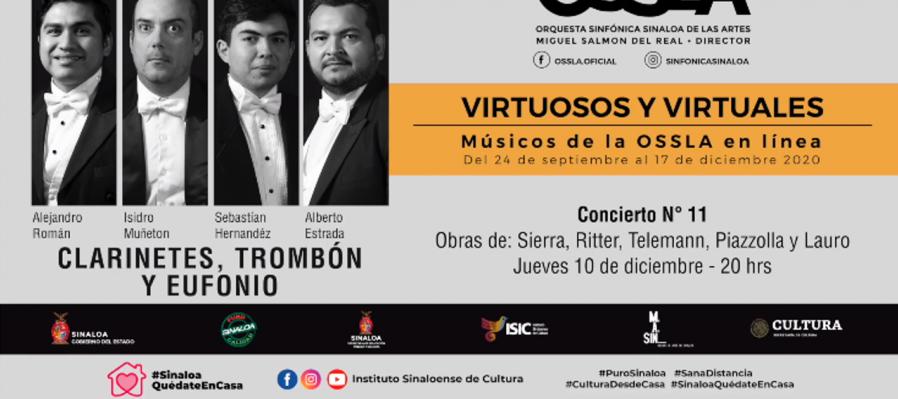 Virtuosos y Virtuales: músicos de la OSSLA en línea. Clarinetes, trombón y eufonio