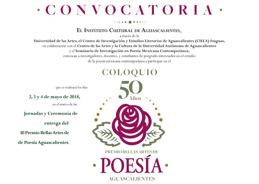 Coloquio 50 años del Premio Bellas Artes de Poesía Aguascalientes