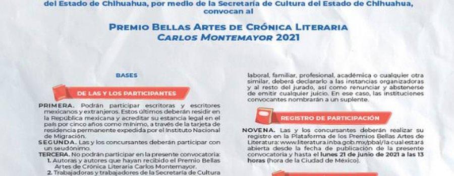 Premio Bellas Artes de Crónica Literaria Carlos Montemayor 2021