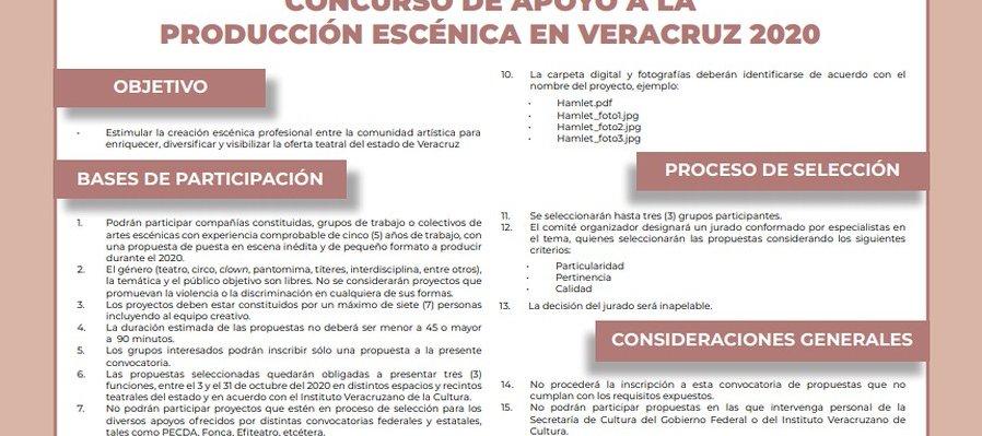 Concurso de apoyo a la creación escénica en Veracruz 2020