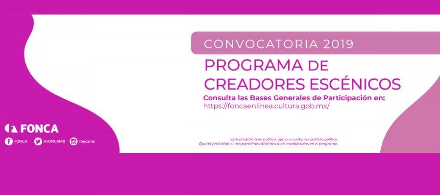 Programa de Creadores Escénicos. Convocatoria 2019