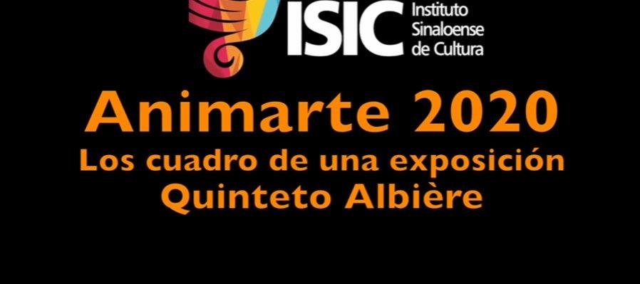 Animarte 2020. Quinteto Albiére con los cuadros de una exposición