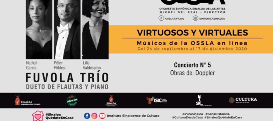 Virtuosos y Virtuales: músicos de la OSSLA en línea. Fuvola Trío, dueto de flautas y piano