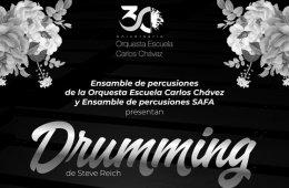 """Percusionista de la OECCh y el ensamble SAFA presentan """"Drumming"""""""