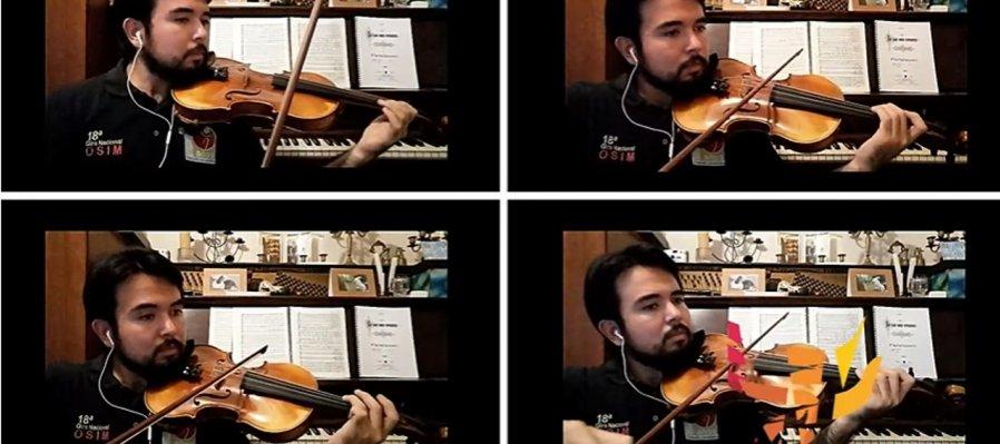 Jacob Tapia, segundo violines en la OSSLA, con Concierto para 4 violines, de Philip