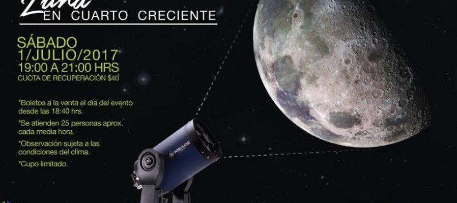 Observación Astronómica: Luna en Cuarto Creciente