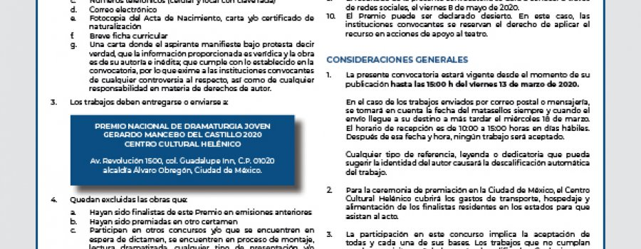 Premio Nacional de Dramaturgia Joven Gerardo Mancebo del Castillo 2020