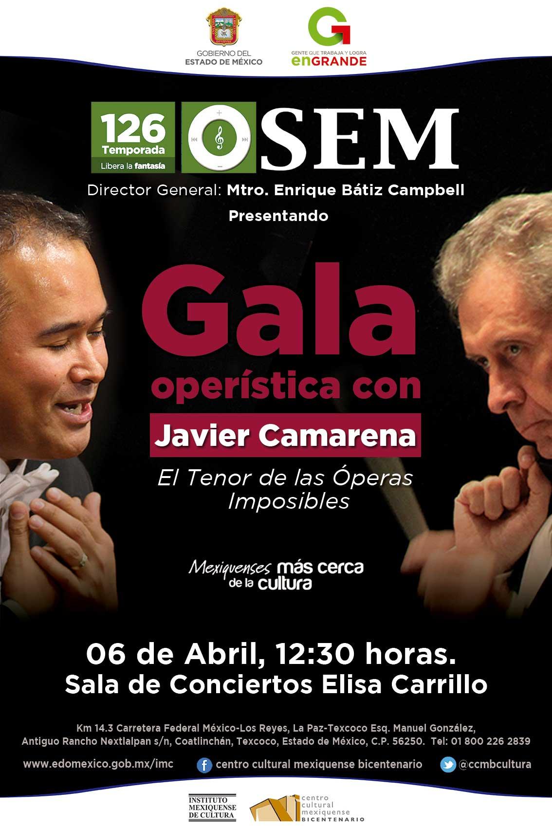 Gala Operística con Javier Camarena: El Tenor de las Óperas Imposibles