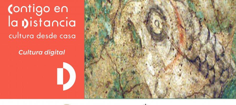 Pez loro, fragmento de la pintura mural de Caja de Agua