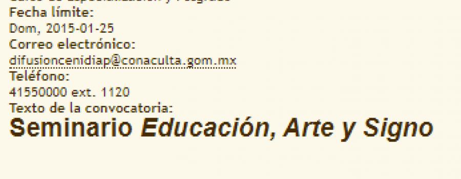 Seminario Educación, Arte y Signo II