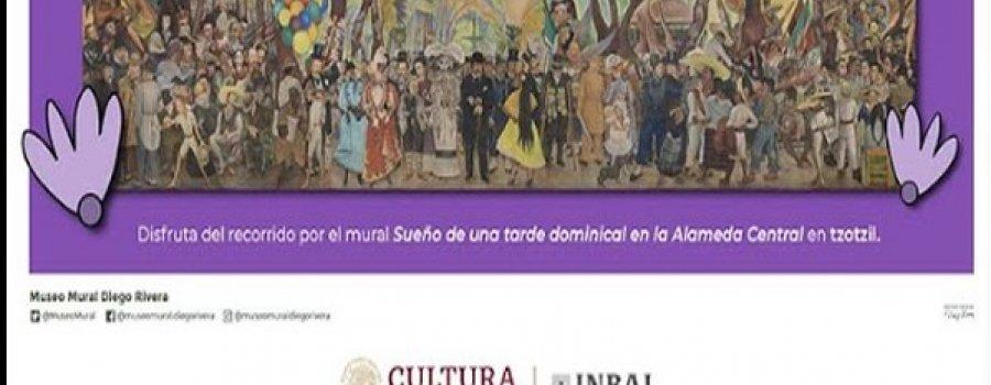 Recorrido del mural Sueño de una tarde dominical en la Alameda Central en Tzotzil